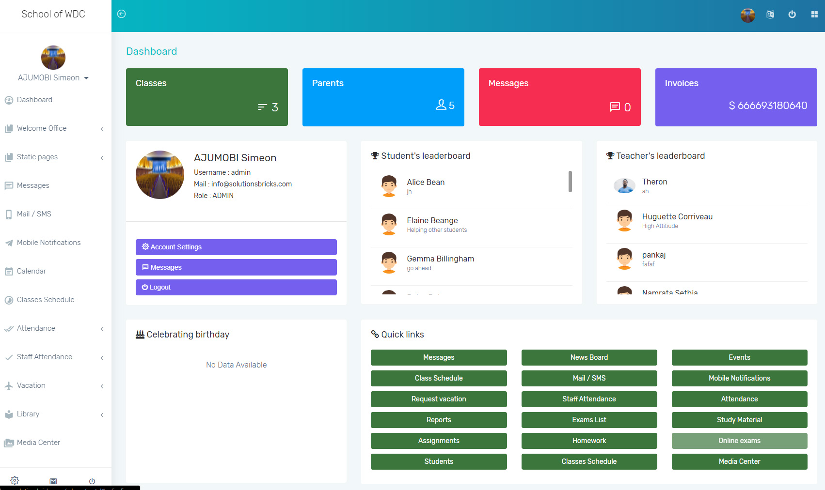 Software Administración de Colegios, Estudiantes, Profesores